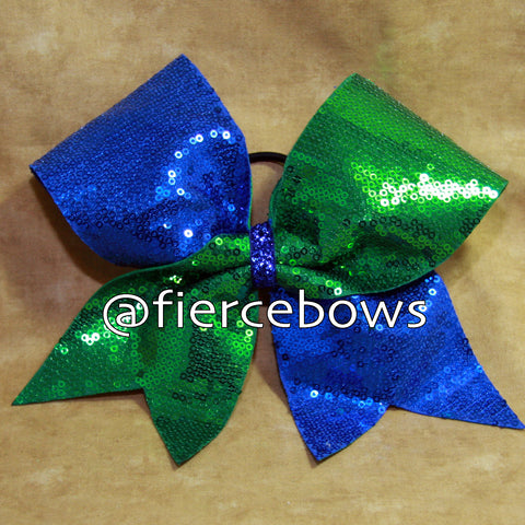 Royal and Kelly Sequin Cheer Bow