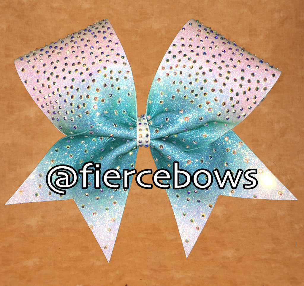 Teal Ombre Burst Glitter and Rhinestone Bow