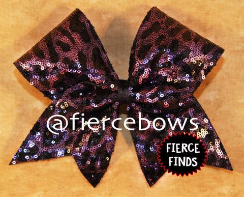 Cheetah Sequin in Black and Purple