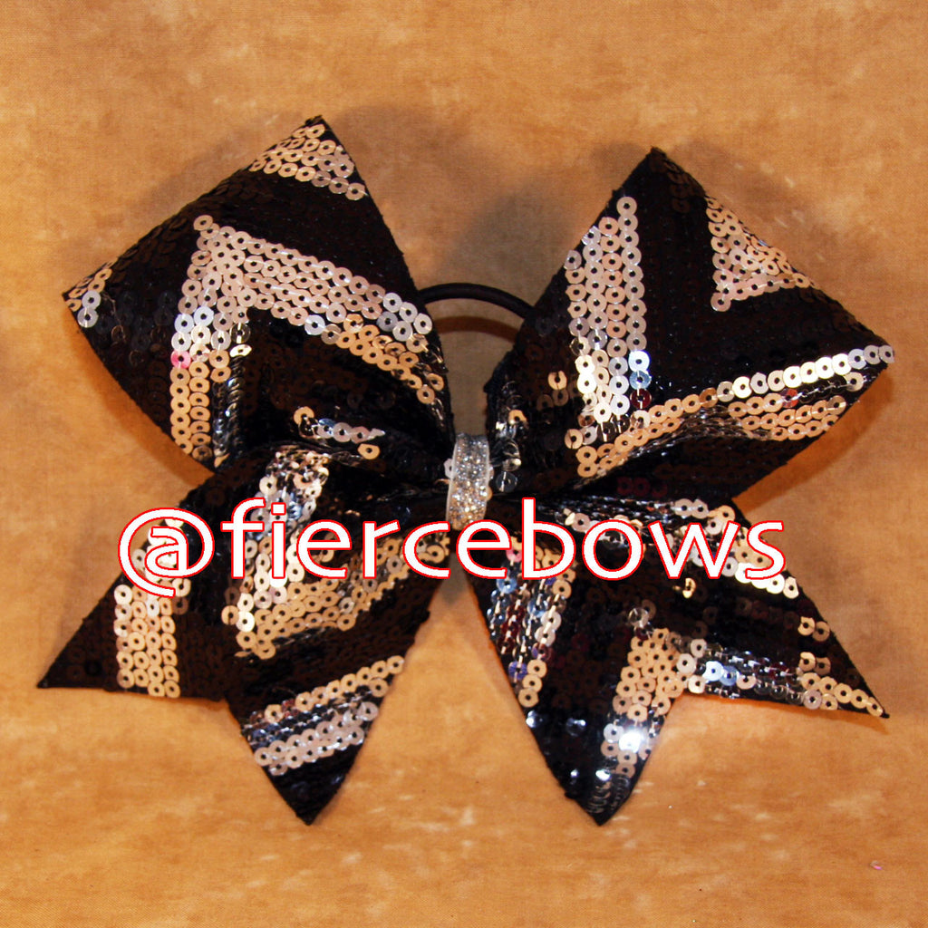 Sequin Chevron in Black and Silver