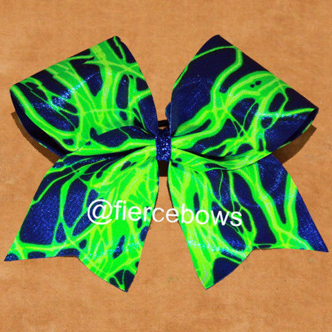 Blue and Green Holographic Lightning Bow