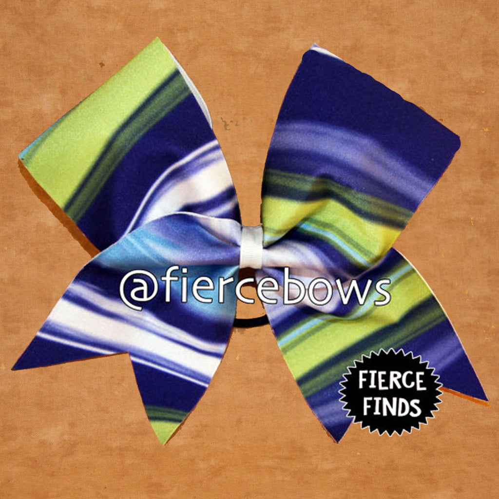 Blue and Green Ombre Cheer Bow