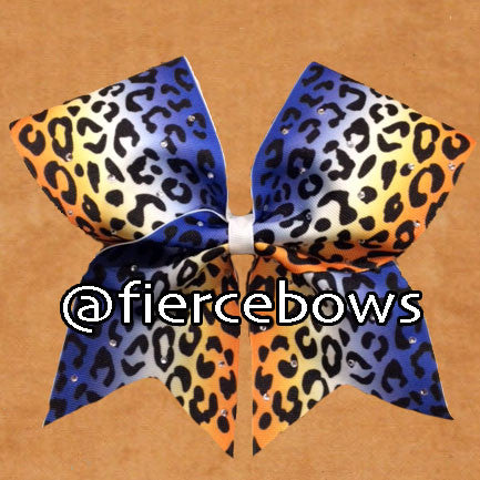 Royal to Orange Ombre Cheetah Cheer Bow