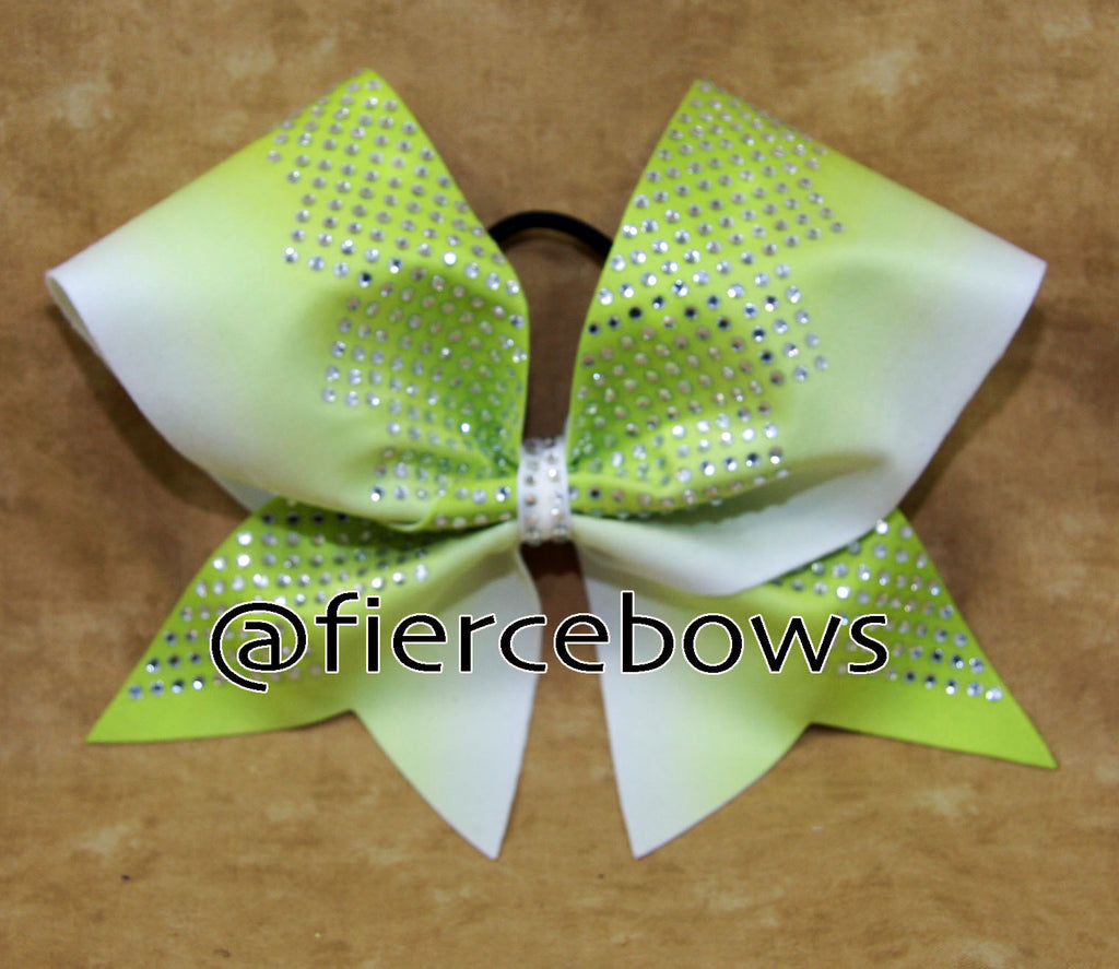 Lime to White Ombre Rhinestone Bow