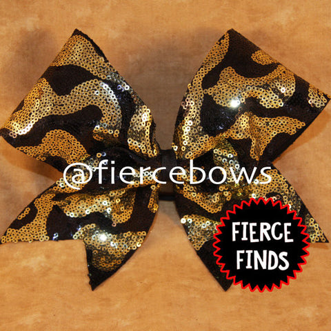 Swirl Sequin in Gold and Black Bow