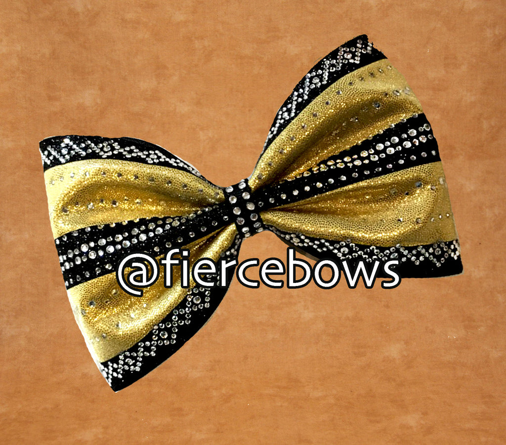 Gold and Black (or whatever you choose) Rhinestone Tailless Bow