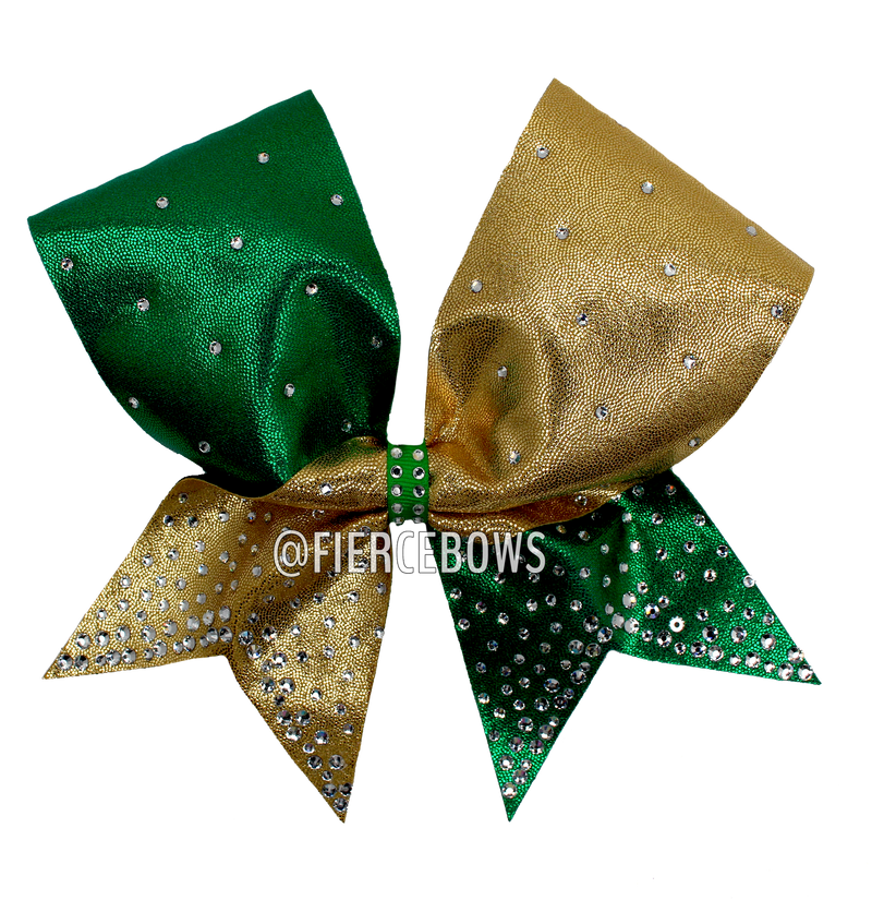 Neon Lime and Black Ombre Cheer Bow