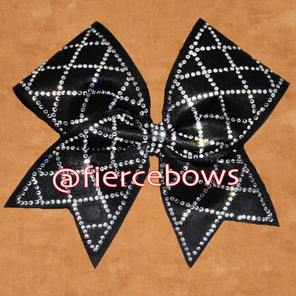 Diamond Grid Rhinestone Cheer Bow