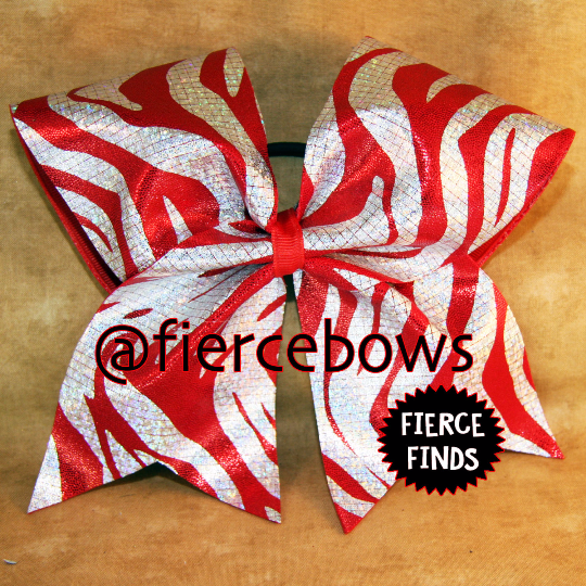 Red and Silver Zebra Cheer Bow