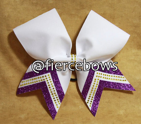 Purple Tails Rhinestone and Glitter Bow