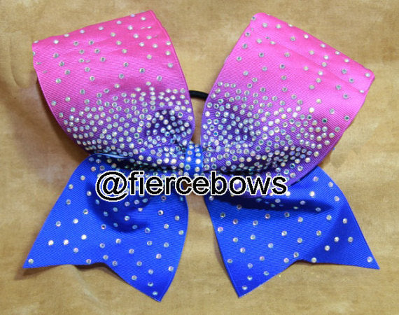 Pink to Blue Ombre Rhinestone Bow