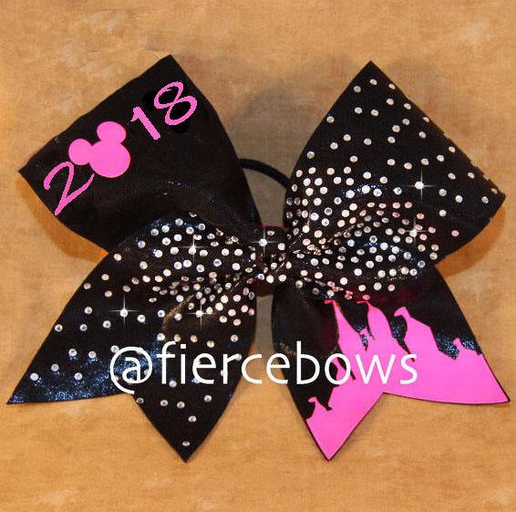 Neon Castle Rhinestone Cheer Bow