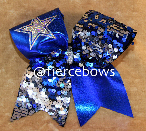 Blue and Silver Reversible Sequin with Silver Star