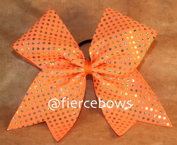 Bright Orange and Gold Dot Bow