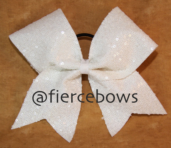 Just A White Sequin Bow