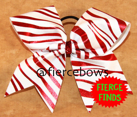 Red Zebra Cheer Bow