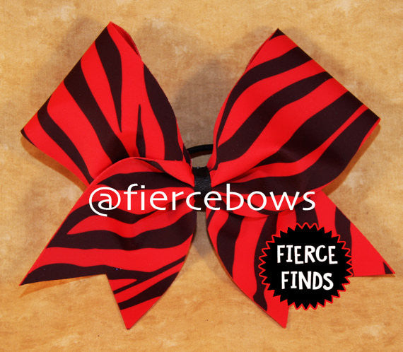 Red and Black Zebra Cheer Bow