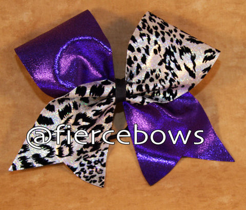White Cheetah with Purple Tick Tock Bow