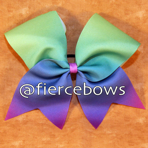 Lime to Blue to Purple Sublimated Ombre Cheer Bow