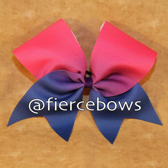 Pink to Navy Sublimated Ombre Bow