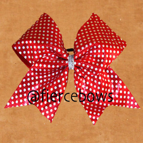 Red and Silver Polka Dot Bow