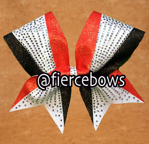 Standout Three Color Rhinestone and Glitter Bow