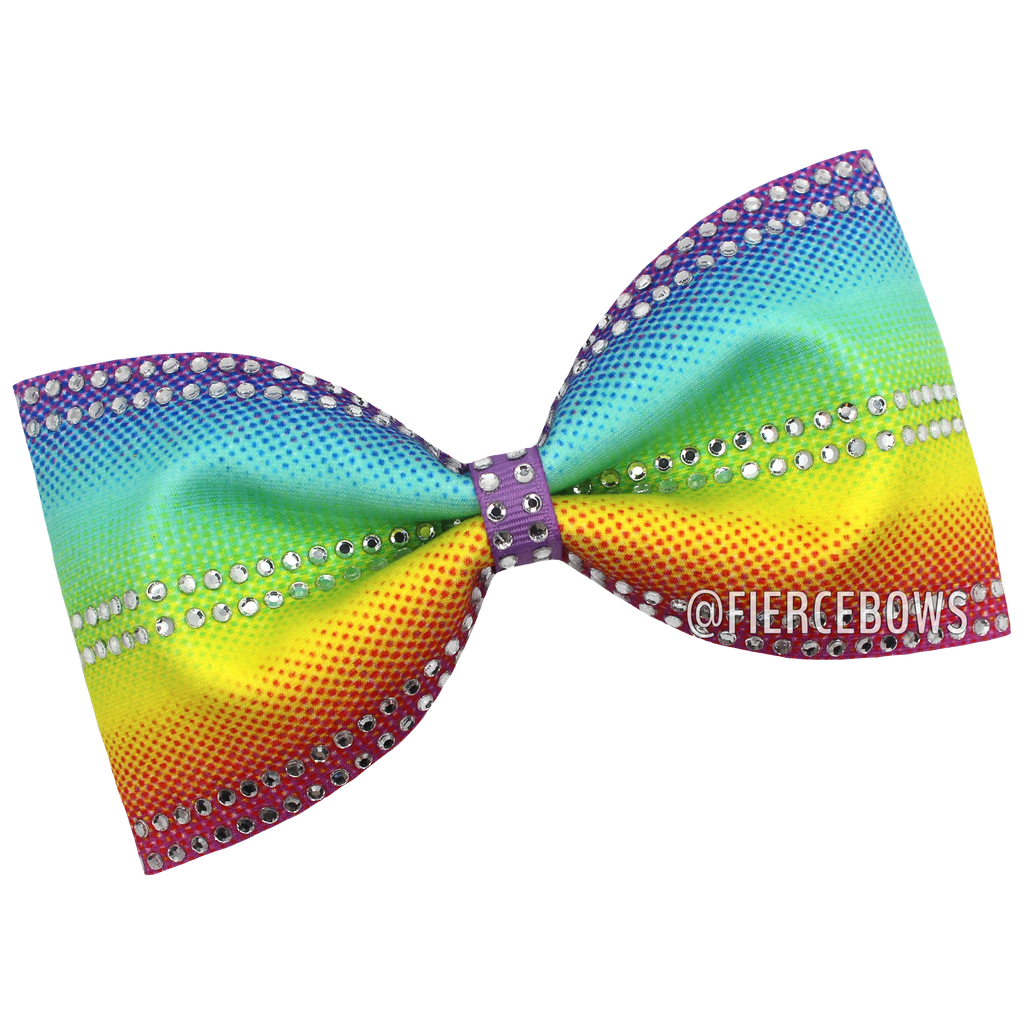 Gradient Rainbow Tailless Rhinestone Bow