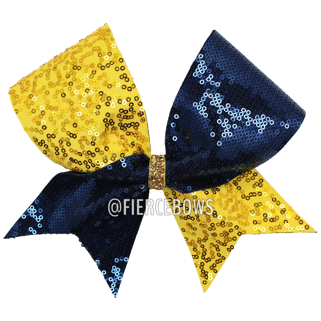 Gold and Navy Sequin Cheer Bow