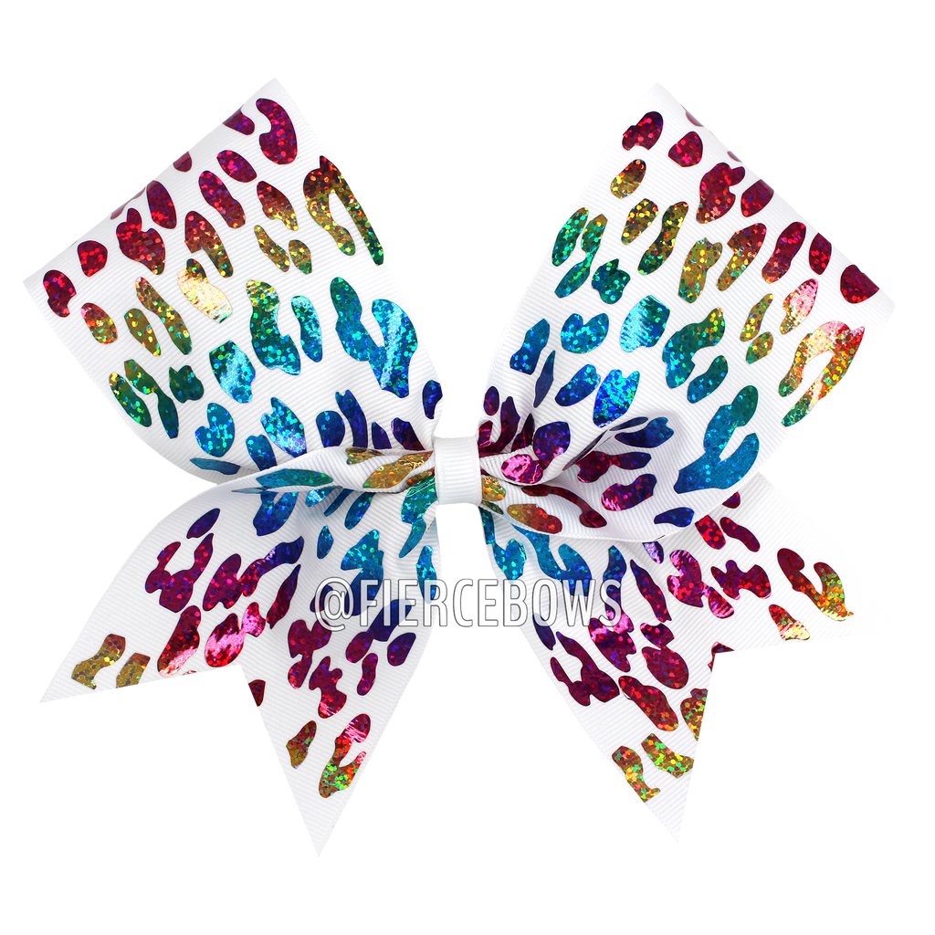 Rainbow Cheetah on White Bow