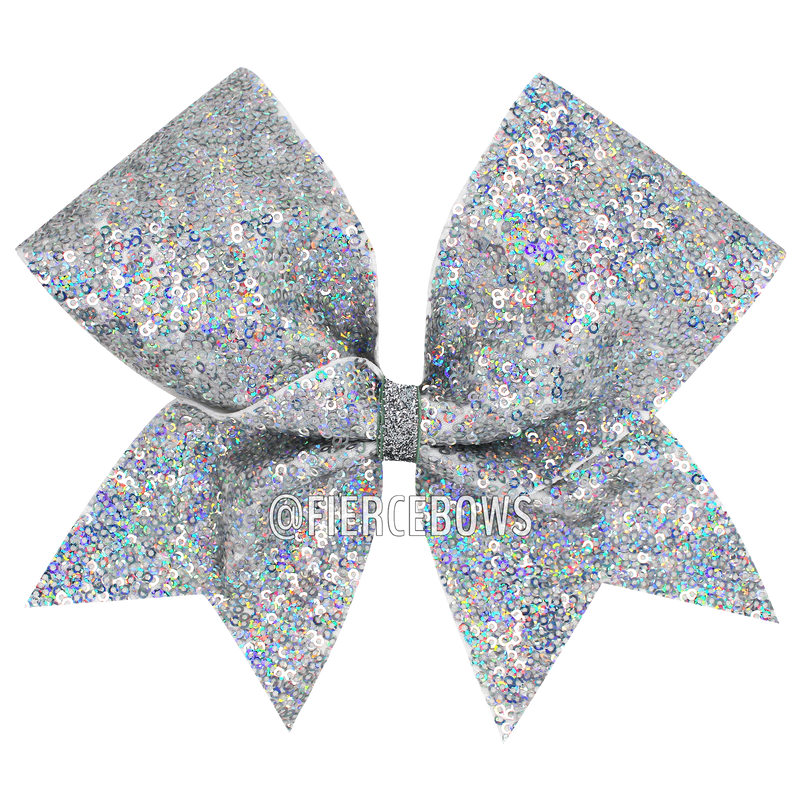 Silver Holographic Sequin Cheer Bow