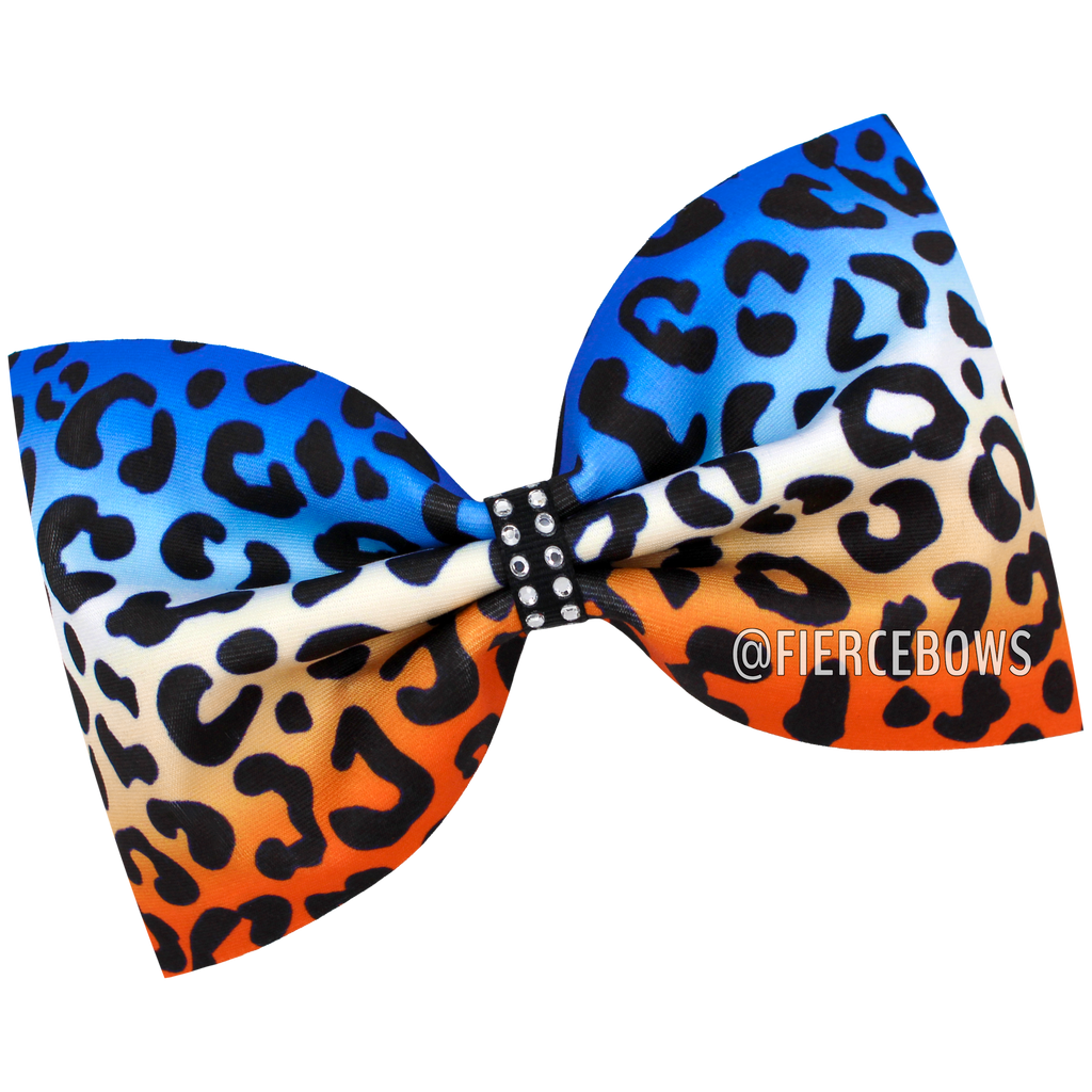 Tailless Three Color Cheetah Ombre Bow