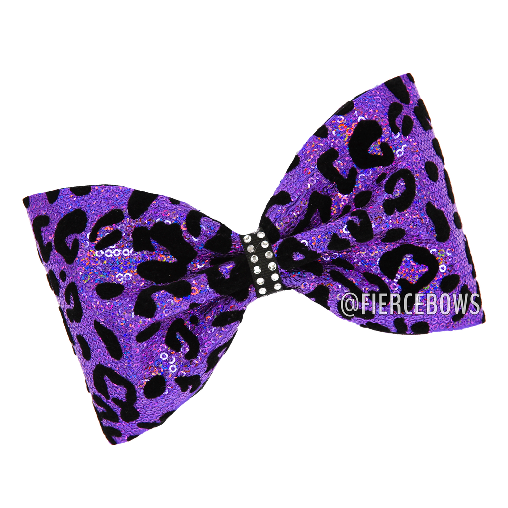 Cheetah Sequin Tailless Bow - Choose Your Color