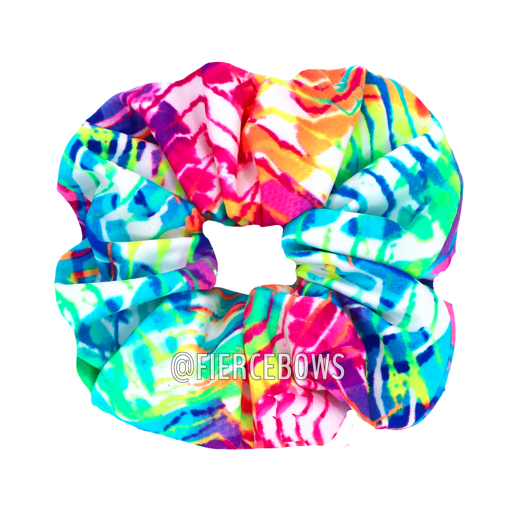 Neon Waves Hair Scrunchie