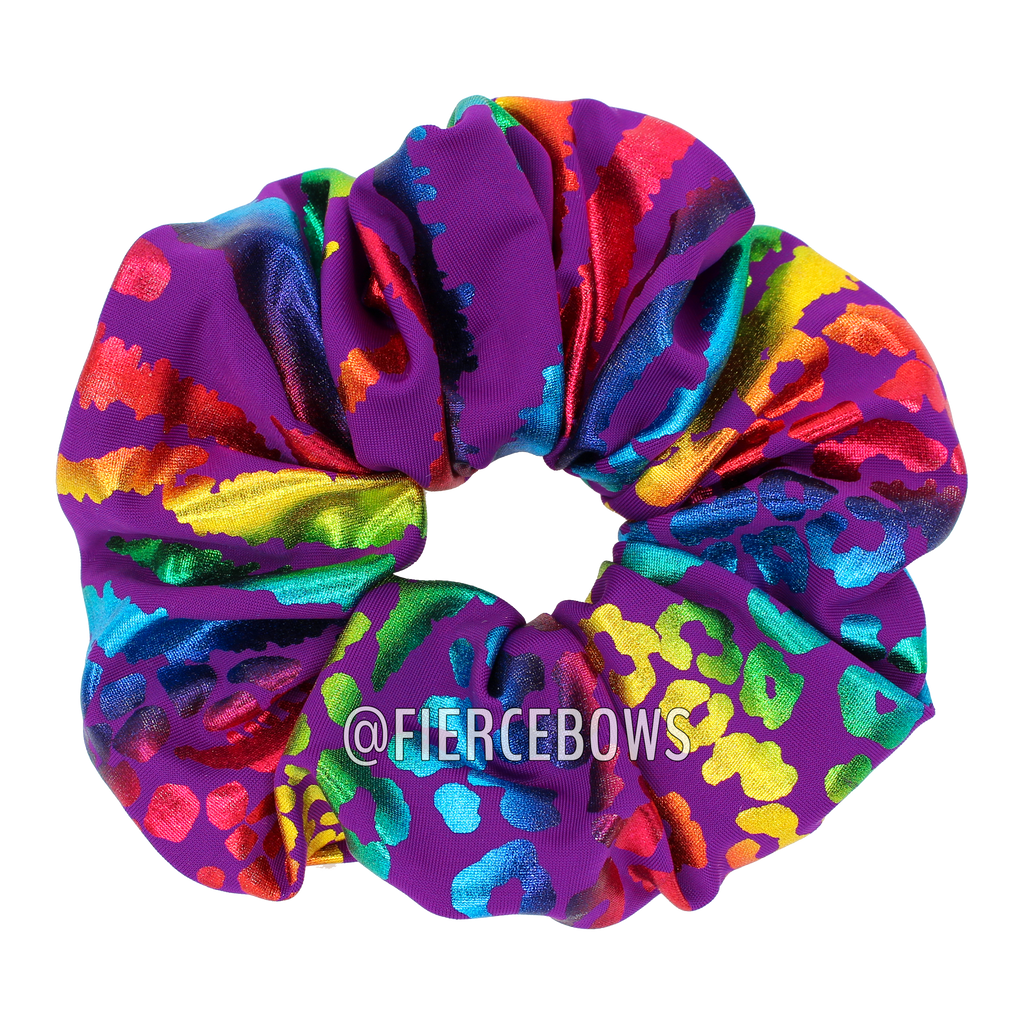 Metallic Mixed Animal Hair Scrunchie