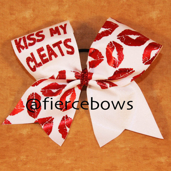 Kiss My Cleats Sports Bow