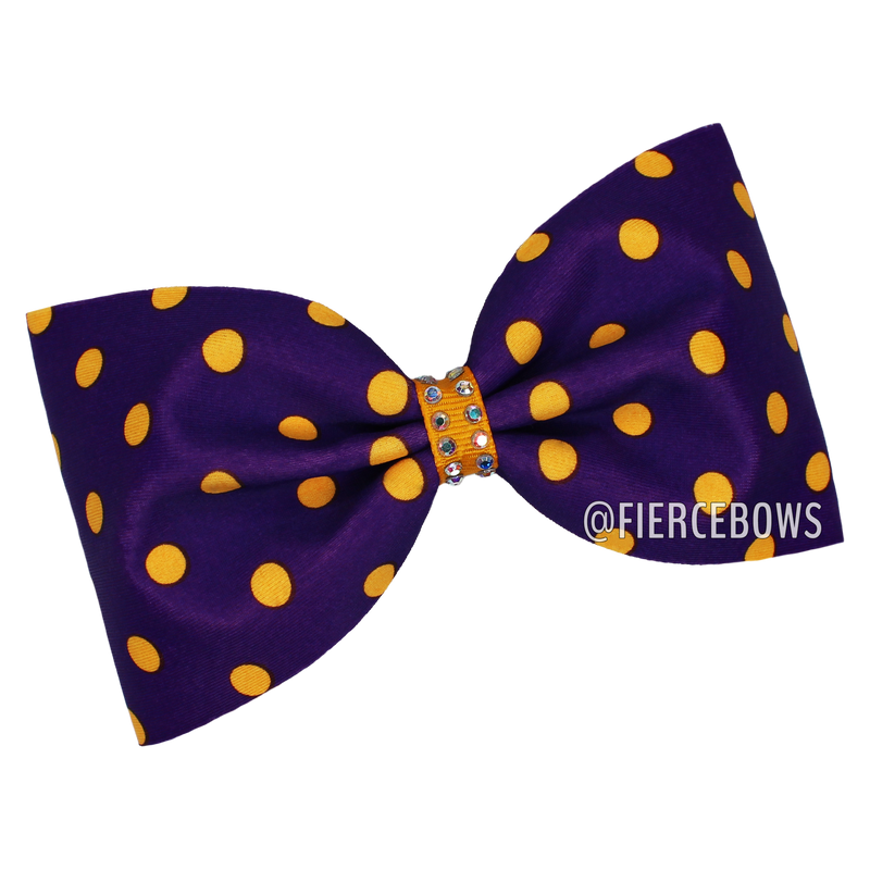 Purple and Gold Polka Dot Tailless Bow