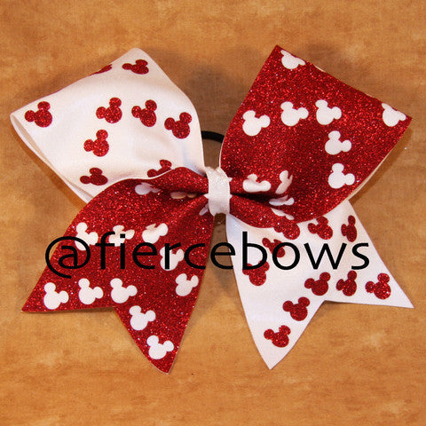 Mouse Ears Glitter Chevron Bow