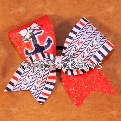Nautical Nights Cheer Bow