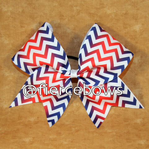 Navy and Red Sublimated Chevron Cheer Bow