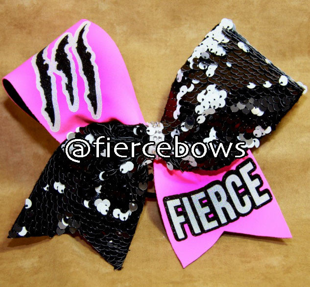 Neon Pink Just FIERCE Cheer Bow
