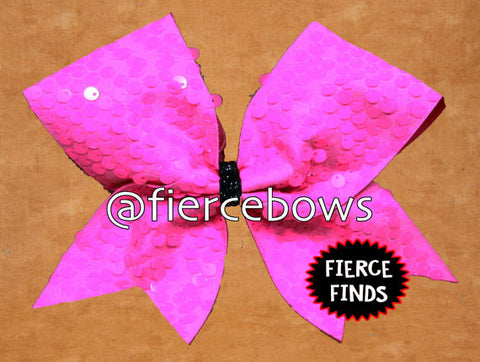 "Neon Pink ""Rain"" Sequin Cheer Bow"