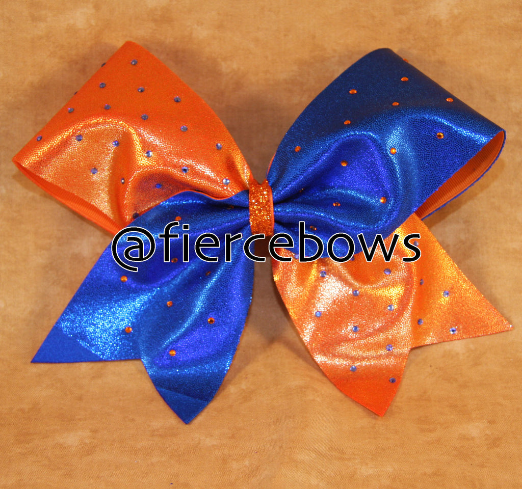 Orange and Blue Rhinestone Cheer Bow