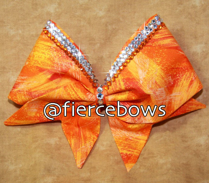 Orange Orange Hand sewn Rhinestone Bow