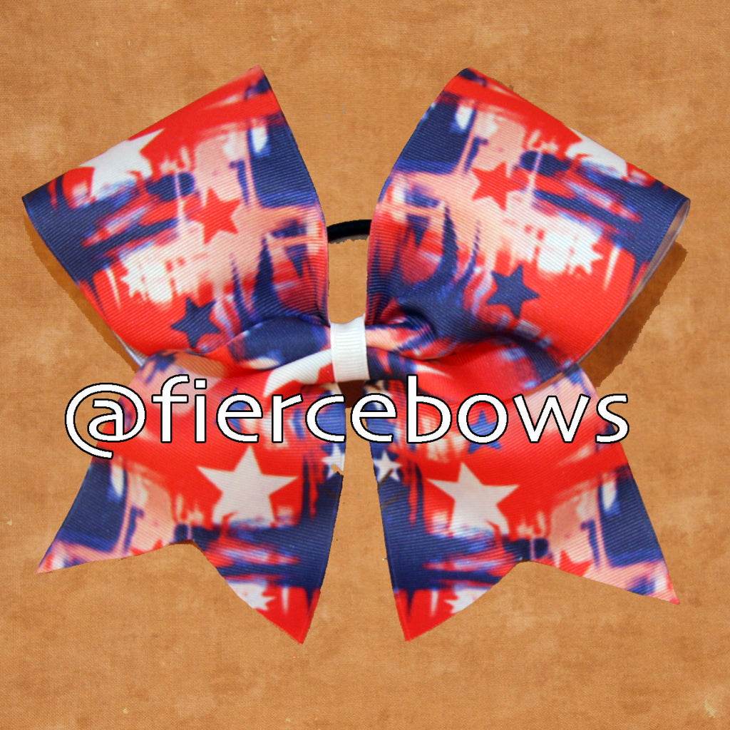 Patriotic Print Sublimated Cheer Bow