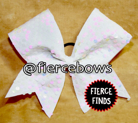 "Pearl White  ""Rain"" Style Sequin Cheer Bow"