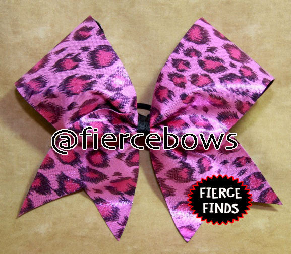 Pink and Black Cheetah Bow