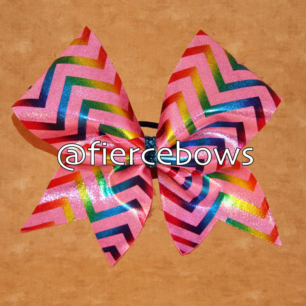 Pink with Rainbow Chevron Cheer Bow