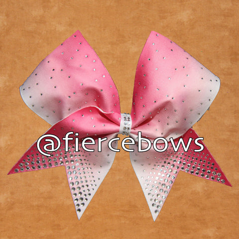 Pink Ombre Rhinestone Cheer Bow
