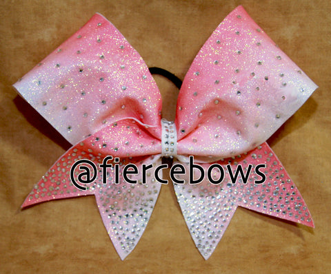 Princess Rhinestones on Pink Glitter Ombre Cheer Bow