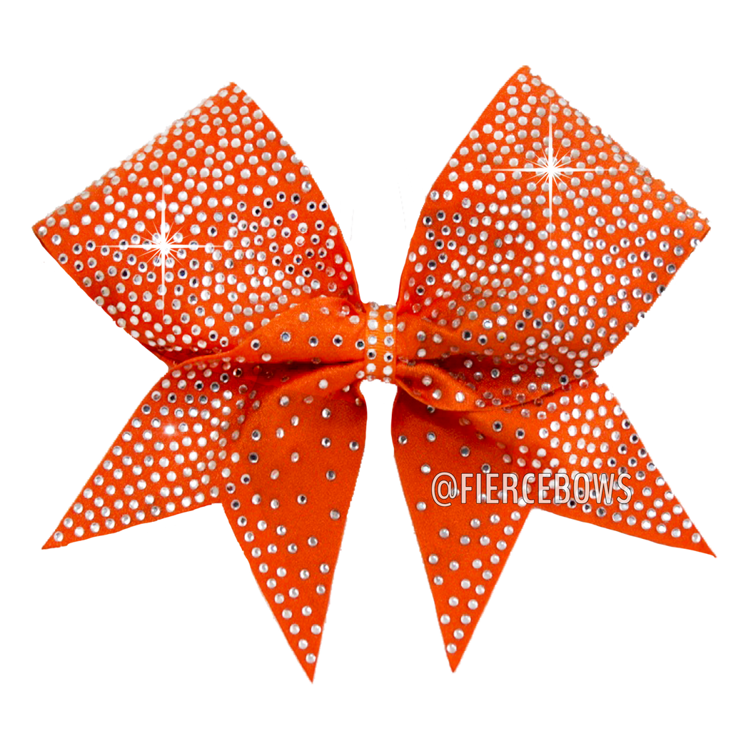 Pure Orange Rhinestone Bow